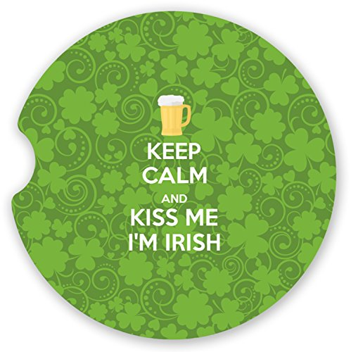 Kiss Me I'm Irish Sandstone Car Coaster - Single (Personalized) -