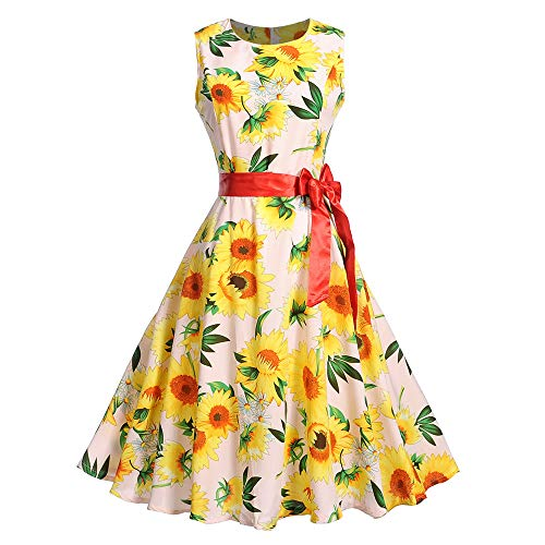 AMSKY Plus Size Women Dresses for Work,Women Vintage Sleeveless O Neck Evening Printing Party Prom Swing Dress, Women > Clothing > Dresses,Pink,2XL