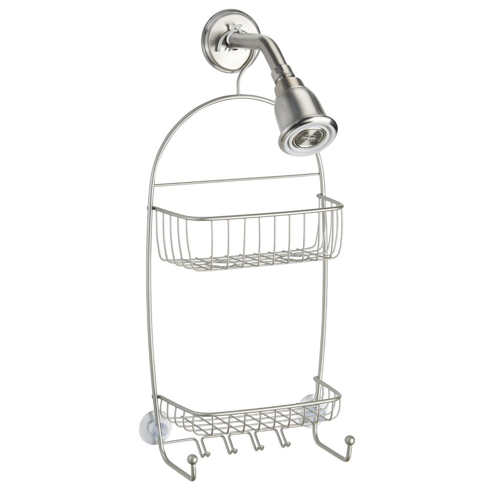 InterDesign Raphael Bathroom Shower Caddy for Tall Shampoo Bottles, Conditioners, Soap-Extra Long, Satin 2845
