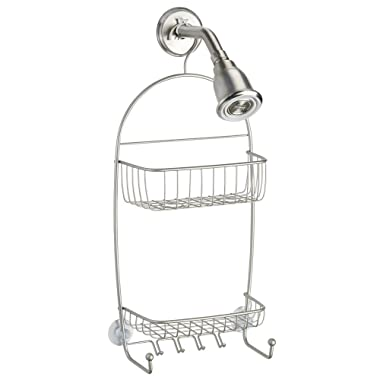 InterDesign Raphael Hanging Shower Caddy – Bathroom Storage Shelves for Tall Shampoo and Conditioner Bottles, Satin