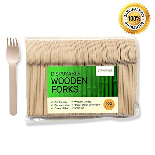 Premium Disposable Wooden Forks - 6