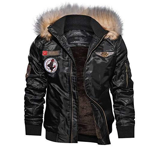 Homme Hiver Chaud Casual Manteau Armée Aviateur Bomber Militaire Blouson Jacket Veste Homme à Capuche Amovible,L… 1