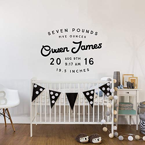 BYRON HOYLE Personalized Baby Announcement Wall Decal - Custom Nursery Decor - Shower Gift Baby Name - WAL-2365 ()