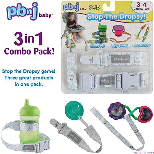 Stop the Dropsy 3-in-1 Pack for sippy cup, pacifier, toys (Gray - High Selling Best Chairs