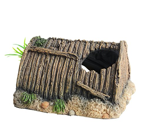 hygger Artificial Wood House Ruins with Plants, Fish Tank Decorations Aquarium Ornament for Small Fish Hideout with 3 Holes by hygger