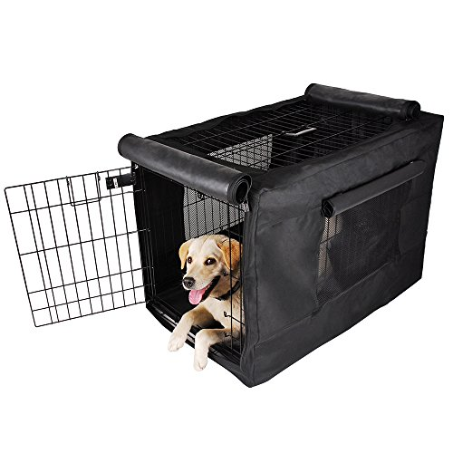 Petsfit Black Polyester Crate Cover for 36 Inches Wire Crates,Size 4000, One Door