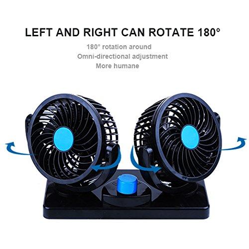 MoTree Ventilateur de voiture 12/V de 360//° Rotation Ventilateur 2/Speed fort vent double ventilateur Puissance 6,5/W pour tous les famille Chariot Coffre SUV Van Truck RV ATV Bateau
