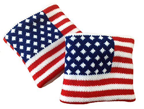 (XObandanas American Flag Wristband USA Star Olympics Sweatband Men Women for Sport Tennis Basketball Fitness Exercise (Pack of 2))