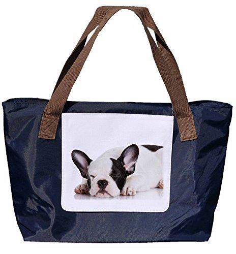 Shopper /Schultertasche / Einkaufstasche / Tragetasche / Umhängetasche aus Nylon in Navyblau - Größe 43x33cm - Motiv: Französische Bulldogge - 03 rlv1Mi