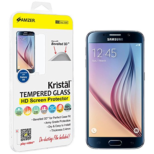 Amzer Kristal Tempered Glass Ultra Clear HD Screen Protector for Samsung Galaxy S6 SM-G920 - Retail Packaging - Hd Tempered Glass