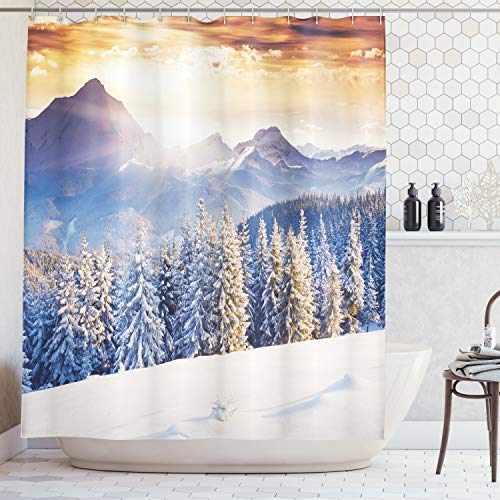 (Ambesonne Room Decorations Collection, Winter Wonderland Snowfall Christmas December Fairytale Alp Cold Scenic Print, Polyester Fabric Bathroom Shower Curtain, 75 Inches Long, White Navy)