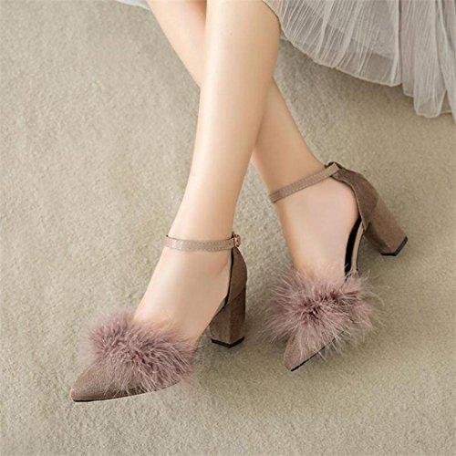 JIANGFU Hochhackige Schuhe,Damen Federn High-Heels Singel Plüsch Hollow Fine Heels Schuhe KH