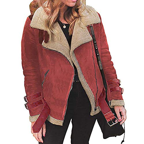 DEATU Clearance Winter Women Faux Suede Lapel Coat Outwear Warm Biker Motor Aviator Jacket Sale(Red,Large)