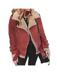 Missli Women's Winter Jacket Ladies Faux Fur Fleece Coat Warm Lapel Biker Motor Aviator Jacket Outwear