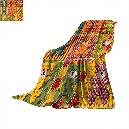 Ultralight Ghillie (Cabin Decor Thicken Blanket Colorful Kids Room Pattern with Patchwork Style Teddy Bears Cute Funny Childish Digital Printing Blanket 90 x 70 inchMulticolor)