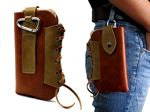 Brown Cowboy Series Premium Leather Retro Sleeve Multi-function Bag Pouch Belt Holster Case with Metal Buckle Cover for iPhone 7 Plus,iPhone 6S Plus ,for LG V10,Nexus 6P,Galaxy S6 Edge Plus