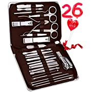 KITCCI Nail Clippers, 26 in 1 Manicure Tools Nail Clipper Set Stainless Steel Manicure Set with Leather Case – Brown