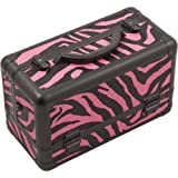 Hiker 3-Tier Extendable Trays Pro Cosmetic Makeup Case with Brush Holder, Zebra Pink by Hiker