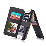 RAYTOP 15-Slot Card Holders, iPhone 6/6s Case With Stand, Inside Cover Removable from Wallet, Button + Zip + Magnet Closure, Multiple Pockets for Money / ID Cards / Driving License, Retro Black Men