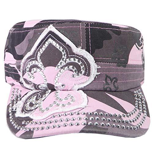 SILVERFEVER Women's Military Cadet Cap Hat - Patch Cotton - Studded & Embroidered (Pink Camo, Fleur De Lis)