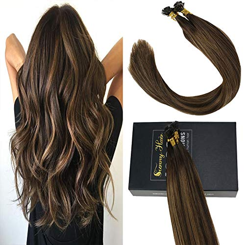 Sunny 16inch Keratin Tip Hair Extensions Ombre Darkest Brown Fading to Midium Brown with Brown,Fusion Hair Extensions Flat Tip(1g/s 50g/pack) ()