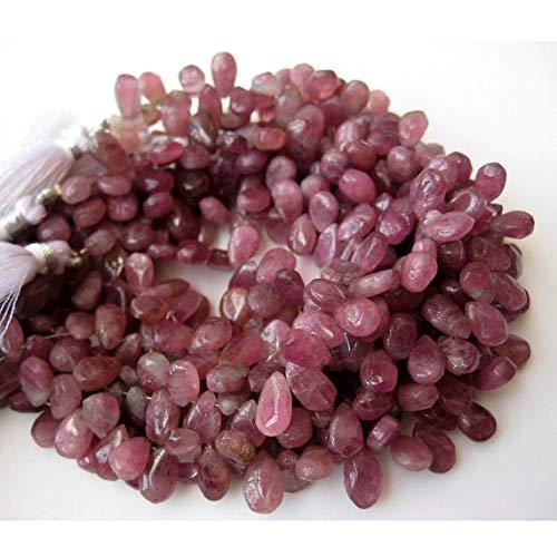 Super Quality Gemstone Beautiful Jewelry Pink Tourmaline Briolette, Pear Beads, Raw Pink Tourmaline, 10mm Beads, 8.5 Inch Strand Code-JP-3622   B07KNQL9P4