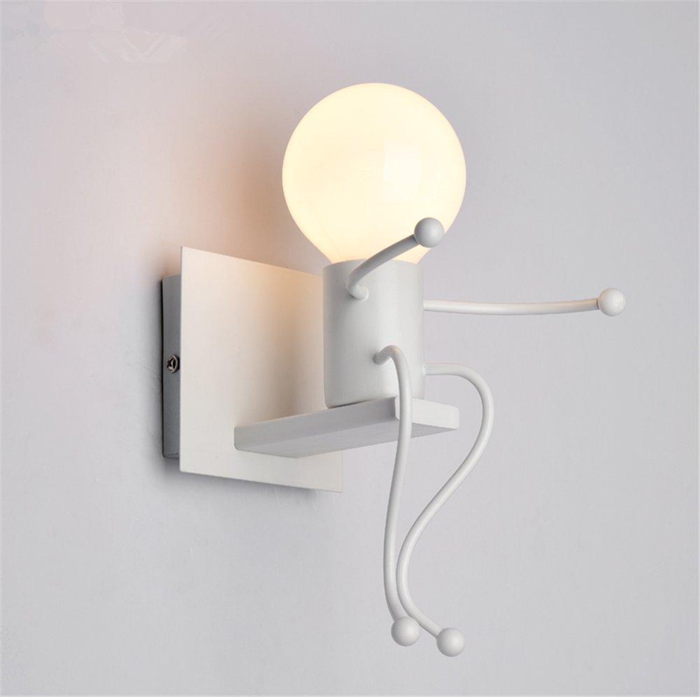 Wandleuchte Wandlampe Moderne E27 Innenbeleuchtung Einfachheit Stil Puppe Modellierung Eisen Wandbeleuchtung Kind Nachttischlampe Moderner Stil Für Kinderzimmer Wohnzimmer Schlafzimmer (weiße Farbe)
