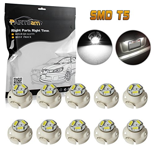 Partsam 10x White 12mm 12V 3 SMD LED T5 Neo Wedge Bulbs Auto A/C Climate Lights (2004 Honda Civic A/c)