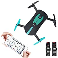 NiGHT LiONS TECH N60 WIFI Quadcopter With Camera Foldable Arm Altitude Hold RC Mini Quadcopter Selfie Pocket Drone RTF Upgraded version with 2 Batteries Long Flying Time