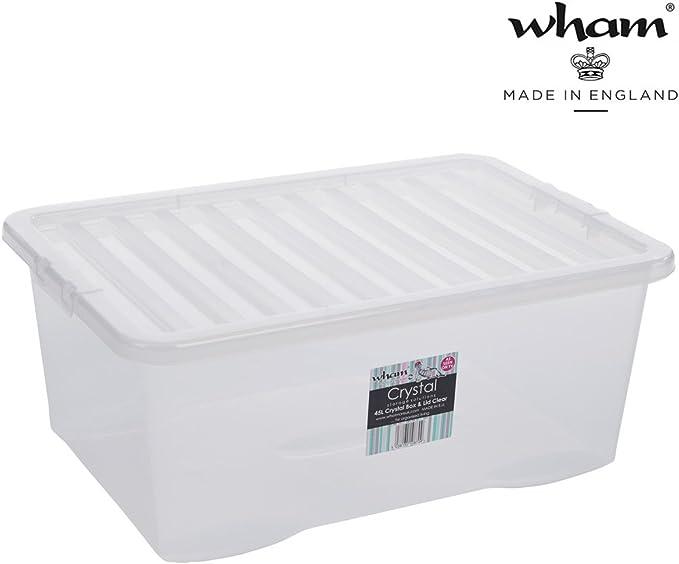 Caja con tapa, transparente, 45 L, alimentos, apilable, 60 x 40 cm ...