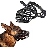 Anokhe Collections Adjustable Muzzle cum Mouth Cover / Basket Cage Collar for Puppy / Dog / Cat (Black - Medium)