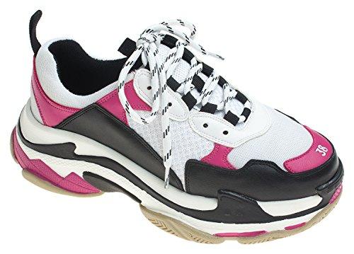 Annakastle Womens Color Accent Sneakers Basse Alte Di Alta Moda Bianco + Rosa