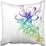 Throw Pillow Cover Polyester 18X18 Inches Flowers Drawn in Ink On White Children's Drawing Pencil Graphics Technology Roses Decorative Cushion Pillow Case Square Two Sides Print for Home