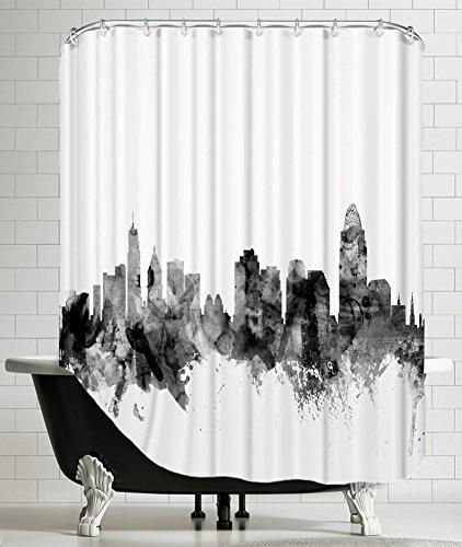 On Sale American Flat Cincinnati Ohio Skyline New 1 Art Pause Shower Curtain By Michael Tompsett 71 X 74