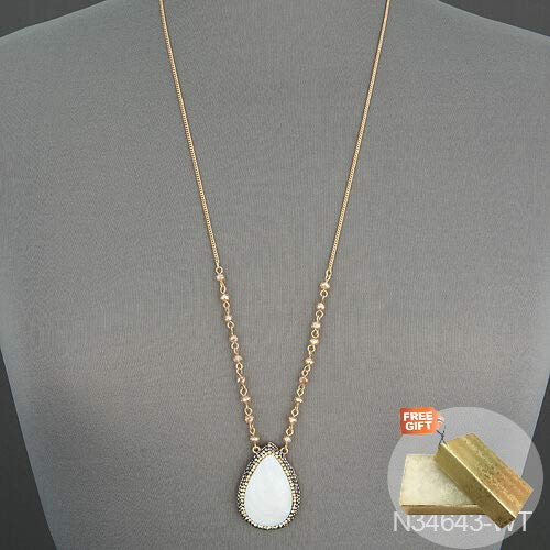- Gold Chain Teardrop Shaped White Pearl Stone Faceted Beads Pendant Necklace + Gold Cotton Filled Gift Box for Free