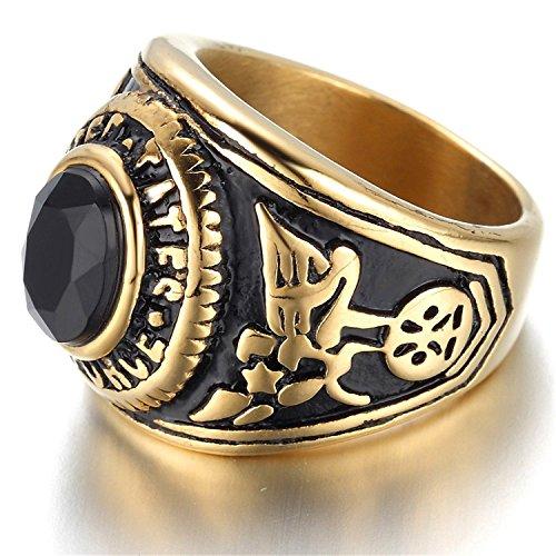 Anneau K Mega bijoux acier inoxydable Biker masculin, cristal noir, Golden, Eagle KR974
