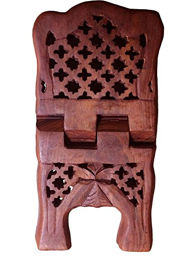 Carved Altar Table - WhopperIndia Hand Carved Holy Folding Book Stand, Wooden Religious Book Stand, Holder Cross Net Design Book Display Stand, Quran, Bible, Gita, Gurugrant Brown Color Bookshelf 11.50 Inch