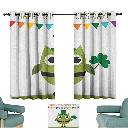 St. Patricks Day Decorative CurtainsForLivingRoom Owl with Leprechaun Costume Greeting Design for Party Shamrock Pattern Home Garden Bedroom Outdoor Indoor Wall Decorations 55