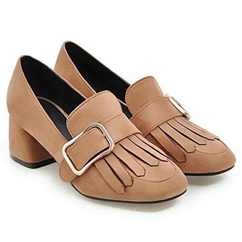 TAOFFEN Women's Hells Court Shoes Brown-6241 LuPWr