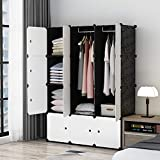 MAGINELS Portable Closet Clothes Wardrobe Bedroom Armoire Storage Organizer with White Doors, Capacious & Sturdy, Black, 30% Deeper Cube, 6 Cubes+2 Hanging Sections