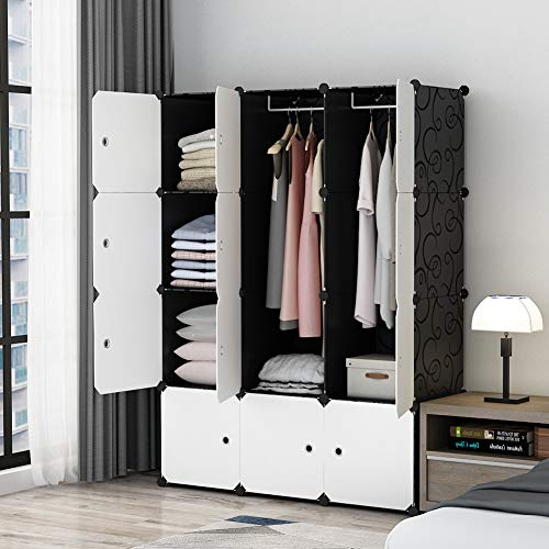 Bedroom Wardrobe Doors - MAGINELS Portable Closet Clothes Wardrobe Bedroom Armoire Storage Organizer with White Doors, Capacious & Sturdy, Black, 30% Deeper Cube, 6 Cubes+2 Hanging Sections