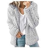 Dainzuy Women's Shearling Fleece Zipper Furry Fluffy Wool Sherpa Fuzzy Jacket Coat Hoodies Outwear Warm Winter