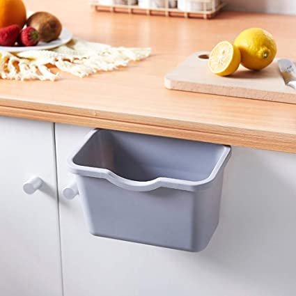 Kitchen Garbage Cabinet,Quaanti Kitchen Cabinet Door Hanging Trash Garbage  Bin Can Rubbish Container Gifts for Home Decoration (Gray)