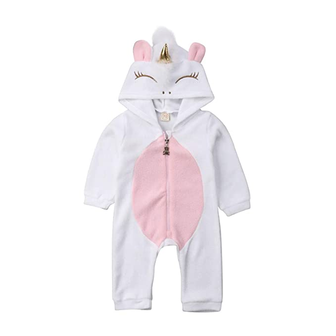 a687866ec9aba Newborn Baby Girls 3D Unicorn Angel Wings Hooded Zipper Romper Jumpsuit  Outfits Clothes Autumn Winter Clothing