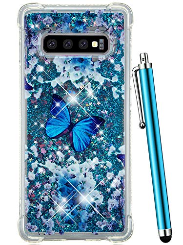 CAIYUNL Case for Samsung Galaxy S10 Plus Glitter Bling Liquid Sparkle Quicksand Flowing Luxury Women Girl Shockproof Protective Slim Clear Cute Phone Cover for Galaxy S10+ Plus[Not S10]-Blue Butterfly ()