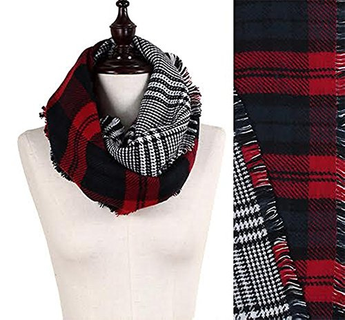 StylesILove Plaid Lovers Collection Womens Infinity Scarf (Classic Plaid Red)