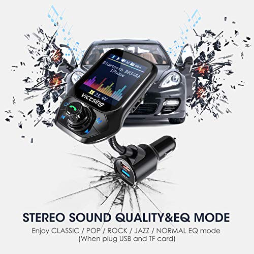 """VicTsing (Upgraded Version) Bluetooth FM Transmitter, Auto Scan Unused Station Bluetooth Audio Adapter for Car with 1.8"""" Color Screen, QC 3.0, EQ Modes, Aux, Hands-Free Calls"""