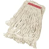 AmazonBasics Loop-End Synthetic Commercial String Mop Head, 1.25 Inch Headband, Large, White, 6-Pack