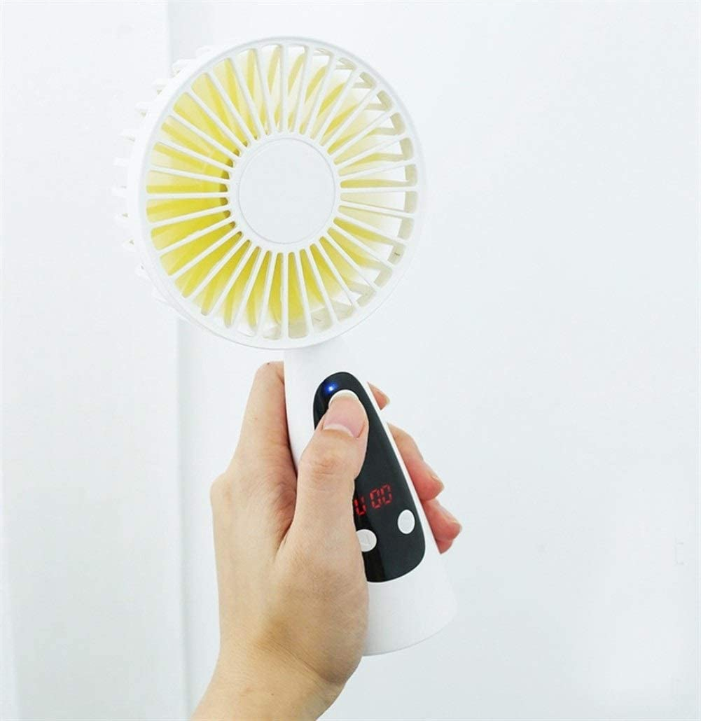 Color : Pink Air Cooler Alarm Clock Mini Portable Fan ,USB Rechargeable Handheld Fan ,with LED Display Time 3 Speed Ventilator Desk//Table Cooling Fan