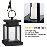 Honor-Y Solar Lights Outdoor Hanging Solar Lanterns 1 Pack, Waterproof Outdoor Hanging Lamp Candle Lantern Lights with Clamp Patio Beach Umbrella Tree Pavilion Garden Yard Lawn (Ye